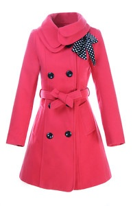 love the color and the bow on the jacket!: Cute Coats, Pink Coats, Coats Jackets, Hot Pink, Pink Trench, Trench Coats, Winter Coats, Adorable Pink