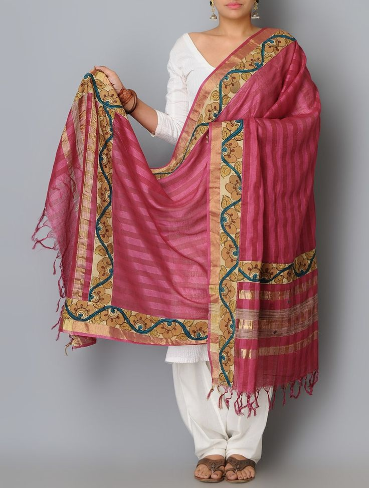 Buy Red Multi Color Cotton Silk Zari Border Hand Painted Kalamkari Dupatta Accessories Dupattas Narratives Concept Sarees and Blouses in Art Online at Jaypore.com