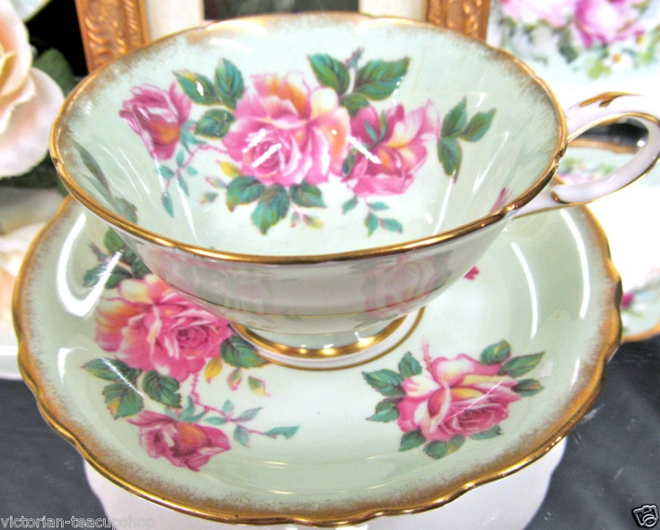 PARAGON MINTY PASTEL GREEN TEA CUP AND SAUCER PINK ROSES TEACUP
