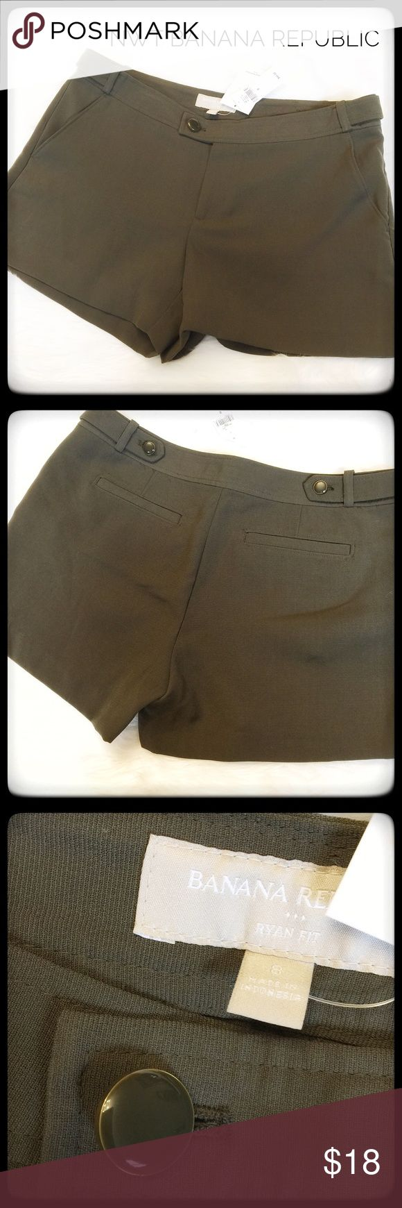 NWT Banana Republic Olive Shorts Flowing Material Classy and sophisticated olive shorts by BR. They have a more dressy appeal with the material being a Dressier material and the button accents. These are NWT and in excellent condition. Banana Republic Shorts