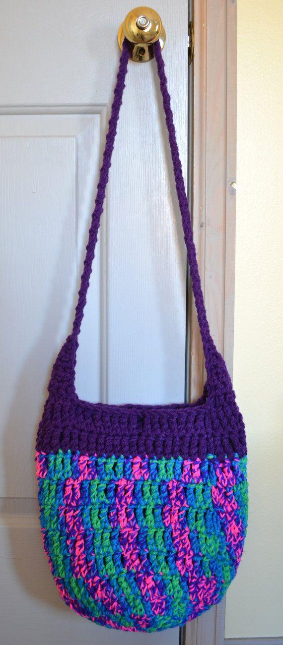Crochet Cross Body Bag Crochet Hobo Bag Hippie Purse by 2LeftHandz