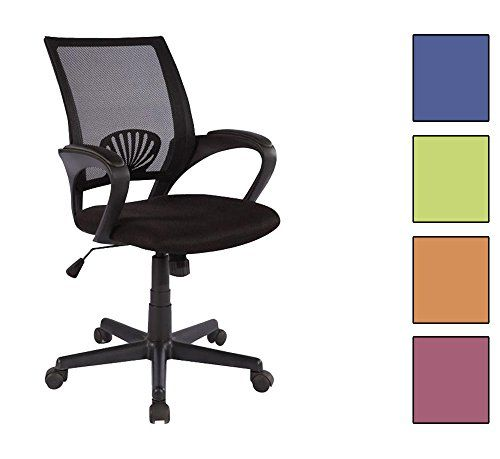 Silla de oficina Silla giratoria negro HLC-0551/828color: negroAsiento regulable sin niveles fijosAsiento y respaldo de malla<