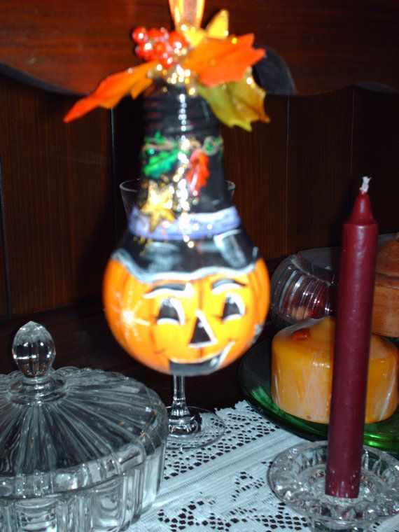 hand drawn painted halloween light bulb makes for a great ornament - Halloween Light Bulbs