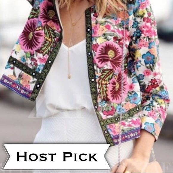HOURS LEFT TO BUYFloral Print Blazer Beautiful detailed jeweled neckline.New with tags condition. Never worn. Size Small. No zipper/button closure it's open blazer. Floral printed not embroidered.LAST DAY TO SHIP TODAYOtherwise if purchased after 6/29 will ship on 7/5 Jackets & Coats Blazers