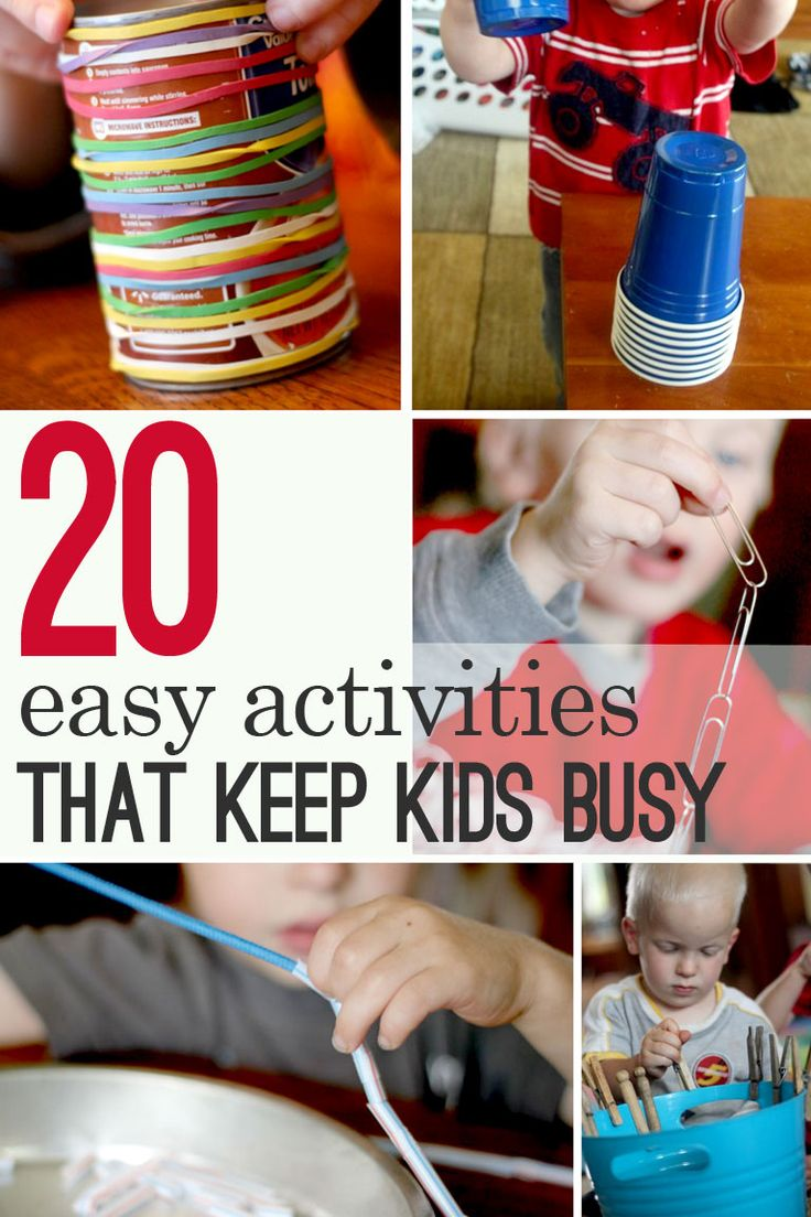 Keeping kids busy can be hard to do when you need to do it! These 20 easy (and quick!) activities will keep kids busy if you need to get something done.