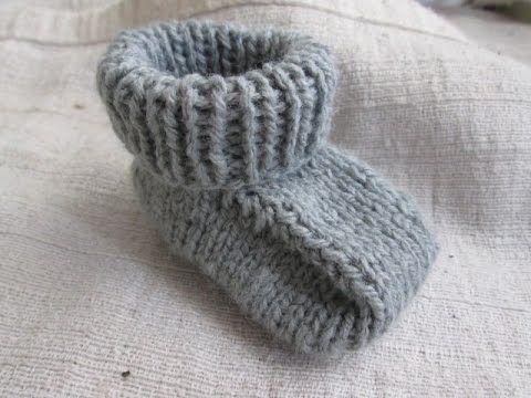 Tutorial - Sapatinho simples de tricô para bebês - faça você mesma - YouTube