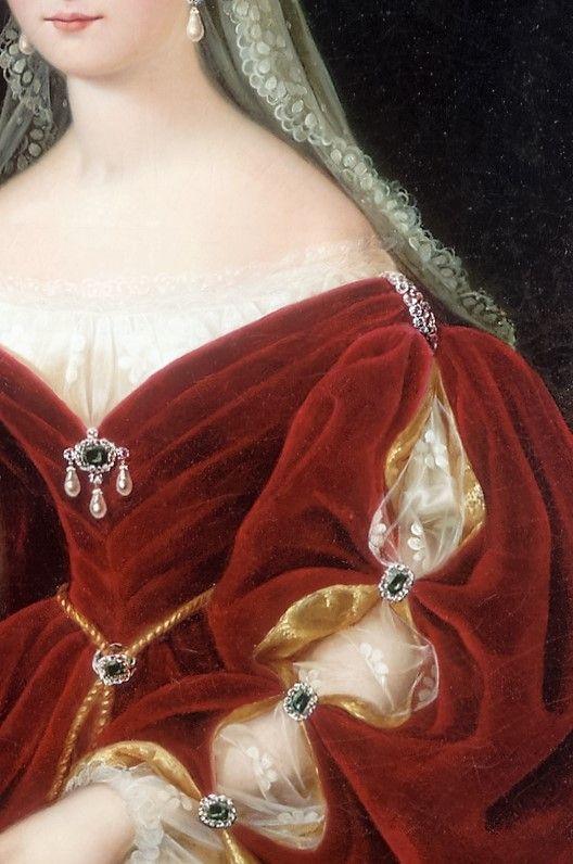 Detalle del Retrato de  Maria Teresa de Austria Teschen, reina de las Dos Sicilias (1837). Francesco Torr