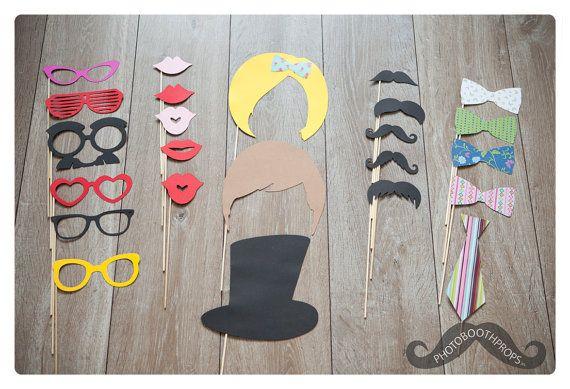Photo Booth Props: Going Wild Exclusive - Super leuke brillen, snorren, lippen, strikken, pruiken, 1 hoed en 1 stropdas op Etsy, 30,00€