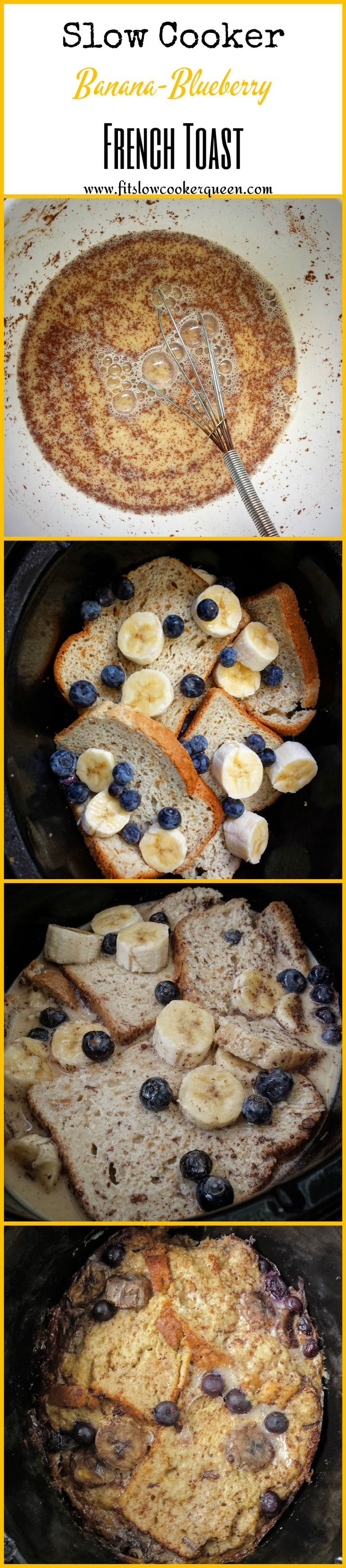 This gluten and dairy-free french toast is made in the slow cooker with bananas and blueberries. This cooks overnight in the crockpot.