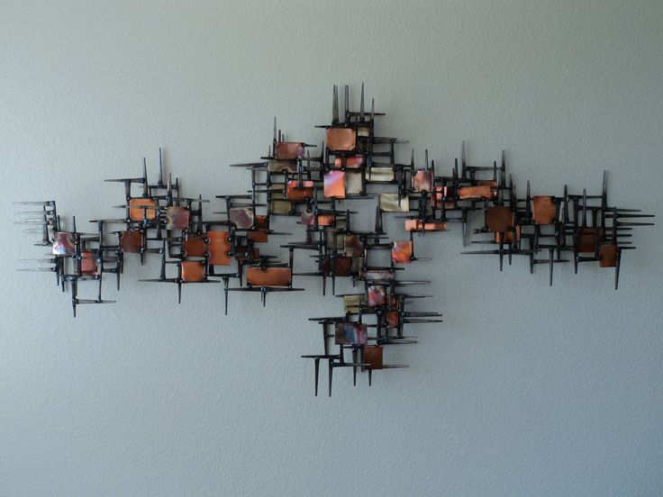 Vintage Metal Wall Art vintage mid century abstract metal nail wall sculpture made from
