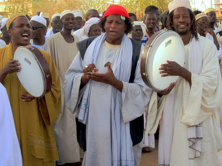 Every Friday afternoon Sufi dervishes gather at the Hamed el-Nil Mosque and Tomb in Omdurman, Sudan, to drum, chant, and play cymbals.
