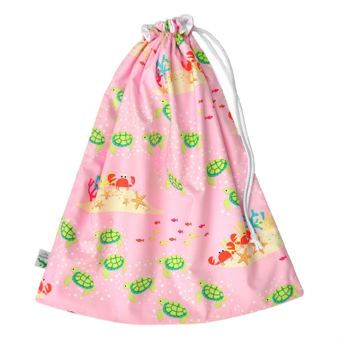 Large wet bag or swim bag. Great for the beach or pool. #turtles #crabs #sea #pinkbag Handmade in Melbourne by Little Alligator
