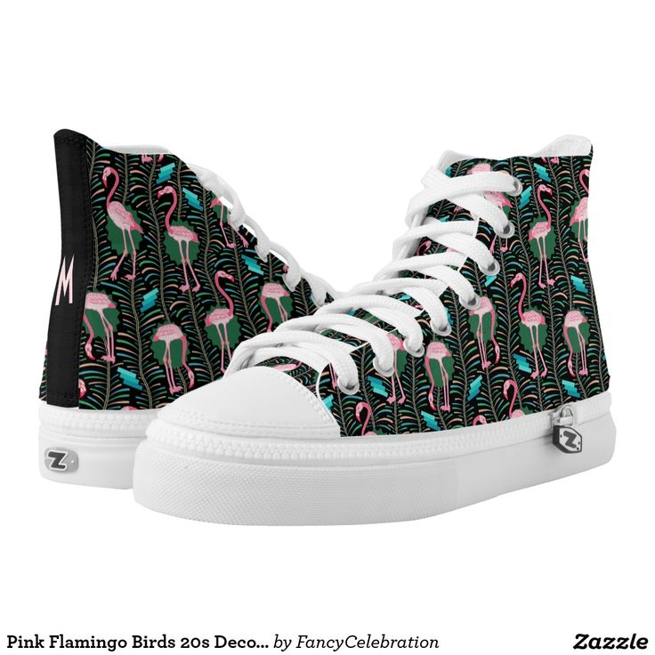 Pink Flamingo Birds 20s Art Deco Ferns Printed Shoes with Your Monogram # shoes #hightops