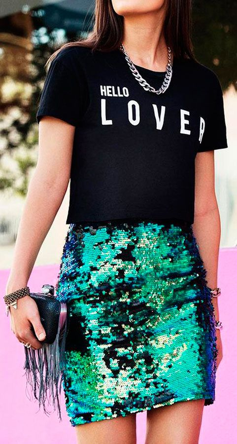 #graphic #glam #sequin #emerald skirt and dark print tee #outfit