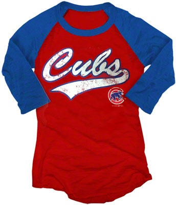 Chicago Cubs Women's Burnout 3/4 Sleeve Raglan T-Shirt by 5th & Ocean (4.9.12) $29.95