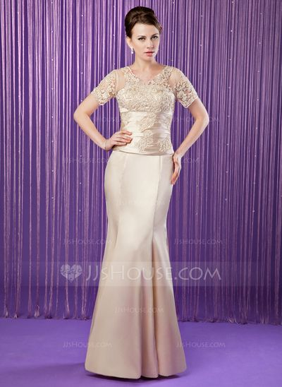 Mother of the Bride Dresses - $146.99 - Mermaid V-neck Floor-Length Tulle Charmeuse Mother of the Bride Dress With Ruffle Lace Beading Sequins (008006174) http://jjshouse.com/Mermaid-V-Neck-Floor-Length-Tulle-Charmeuse-Mother-Of-The-Bride-Dress-With-Ruffle-Lace-Beading-Sequins-008006174-g6174?ver=xdegc7h0