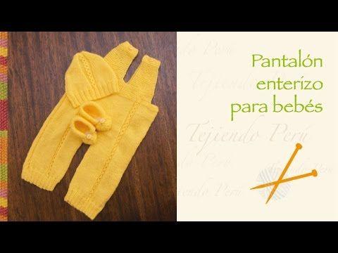 Pantalón enterizo para bebés tejido en dos agujas o palitos - YouTube