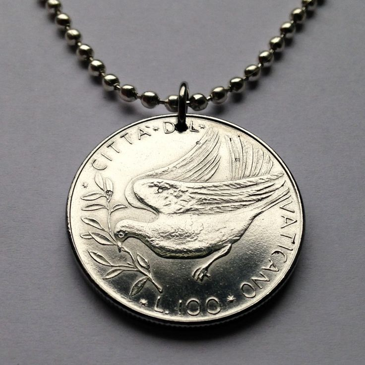 1976 Vatican City 100 lire coin pendant peace DOVE Italy necklace Italian Apostolic Palace diocese Roman Catholic christian church n001701 by coinedJEWELRY on Etsy