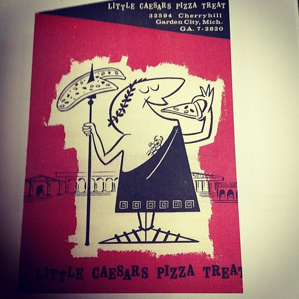 8 Hot-N-Ready Facts About Little Caesars - A menu cover from the first Little Caesars location which opened in 1959 in Garden City, Mich.