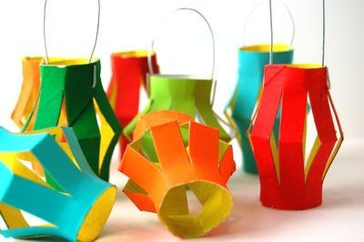 Cute paper lanterns made from toilet paper rolls