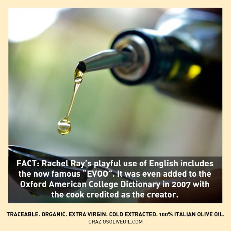 "Fact: Rachel Ray is credited with creating the now famous abbreviation ""EVOO""! #rachelray #evoo #oliveoil #facts"