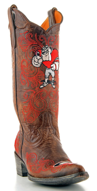 Gameday U Of Georgia Ladies Leather Boots GA-L036-1 - Brass