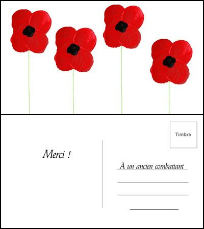 Champ de coquelicots   Animassiettes Faites une carte postale originale pour un vétéran!   #coquelicot #bleuet #Animassiettes #souvenir #cartepostale #tutoriel #veteran #DIY
