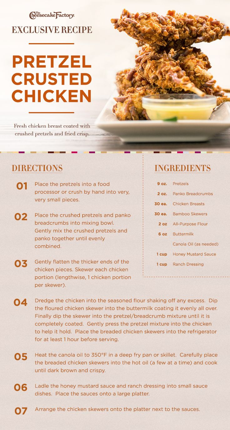 Recipe provided by The Cheesecake Factory for Pretzel Crusted Chicken. Crispy deliciousness!