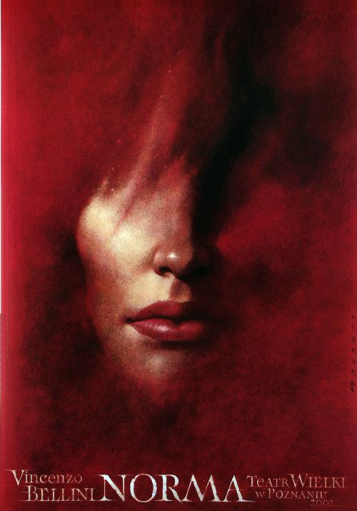 Norma, Original Polish Poster Poster for the opera of Vincenzo Bellini, designer: Wieslaw Walkuski, 2002