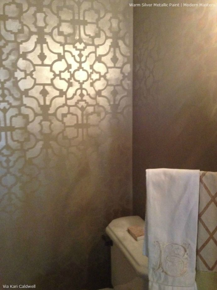 Allover Stenciling with Modern Masters Metallic Paint | Modern Masters Warm Silver Metallic Paint | Project by Kari Caldwell