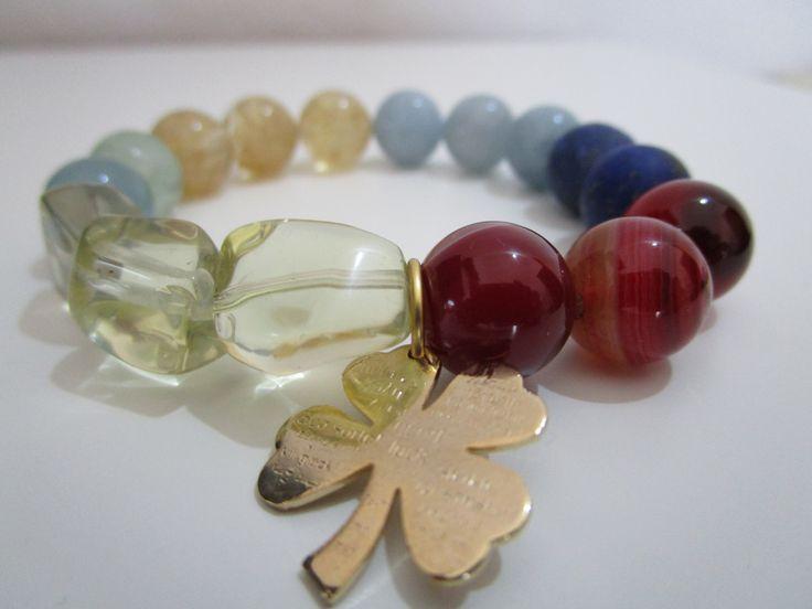 Pulsera de piedras semipreciosas,Agata rojo rayas,Aguamarina,Citrino,Lapis…