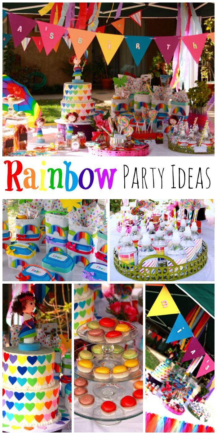 Fantastic rainbow girl birthday party ideas! Love the decorations and birthday cake! See more party ideas at CatchMyParty.com.