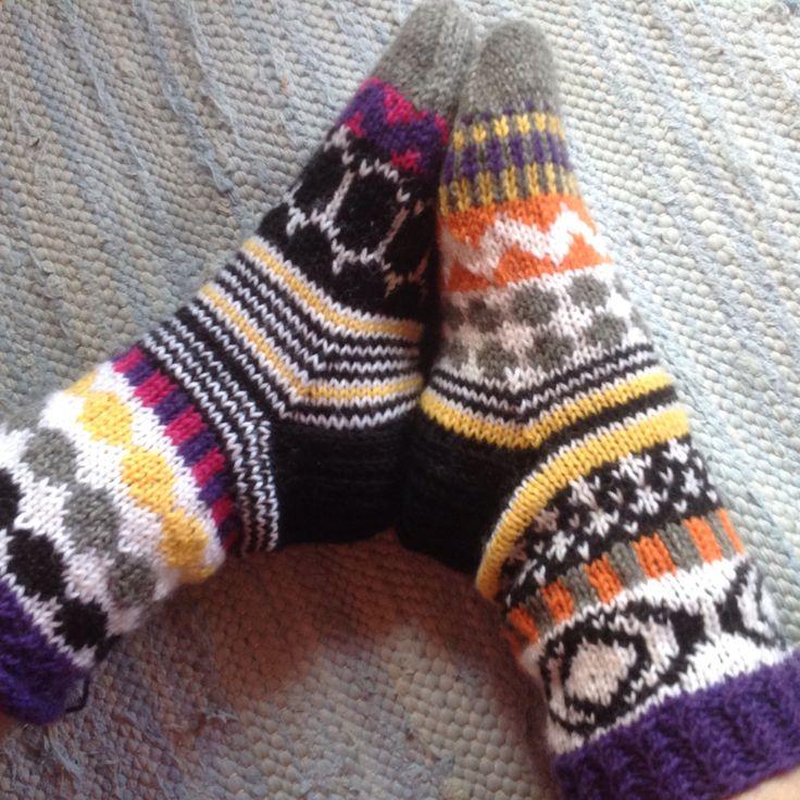 My version of Marimekko inspired socks, made by Pirjo S. May 2016.