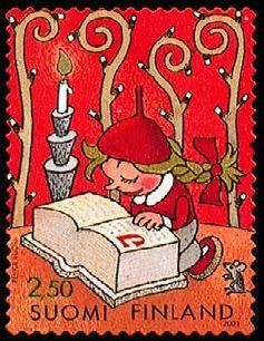 Joulupostimerkki 2001 1/2 - Tonttu tutkii joulupukin muistikirjaa