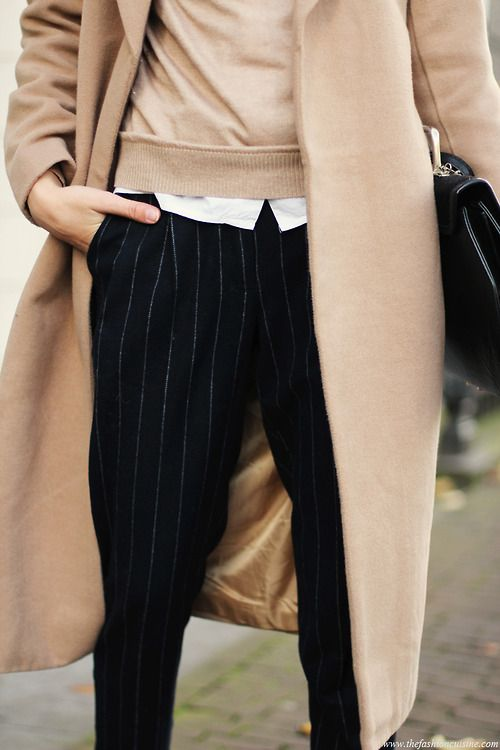 black pinstripe pants with camel sweater and camel jacket