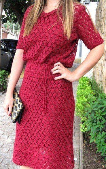 Платье узором веерочки. Ажурное платье крючком схема