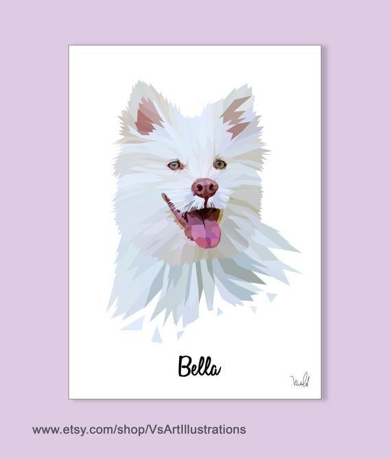 Pet Portrait, Dog Portrait, Gift For Boyfriend, Pet Commission, Animal Portrait, Samoyed Portrait (Printable)