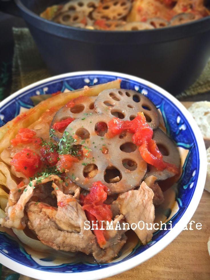 入れてほったらかし〜レンコンとキャベツと豚コマのトマトポトフ by SHIMA / 無水鍋に材料を入れたらほったらかし〜(笑)旨味を閉じ込めるから味付けもシンプル。体に優しいレンコン、キャベツ 食物繊維たっぷりで年末年始の暴飲暴食をデトックス〜な煮込み料理です私はバーミキュラを使っています♪ / ナディア