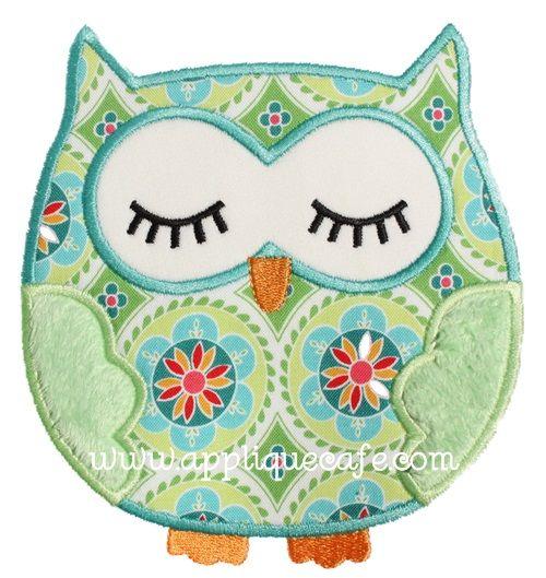 Sleeping Owl Applique Design - Applique Cafe