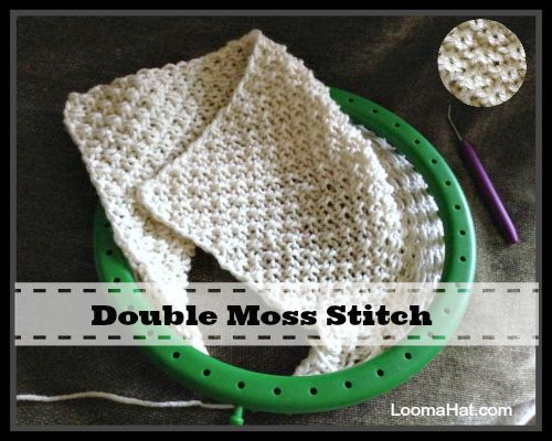Double Moss Stitch on a Loom. Picture, Text and Video Tutorial.