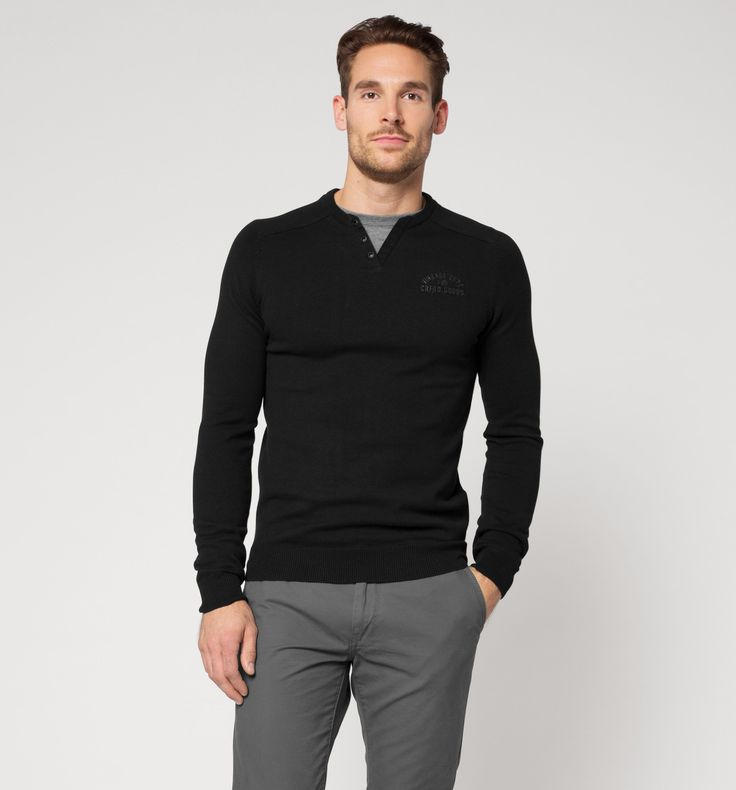 Serafino-Shirt in dunkelblau