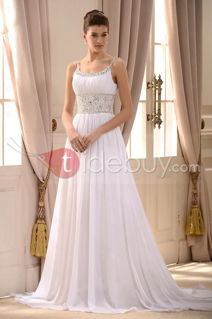 Gorgeous Empire Spaghetti Straps Sleeveless Beaded Court Train A Line Wedding Dress