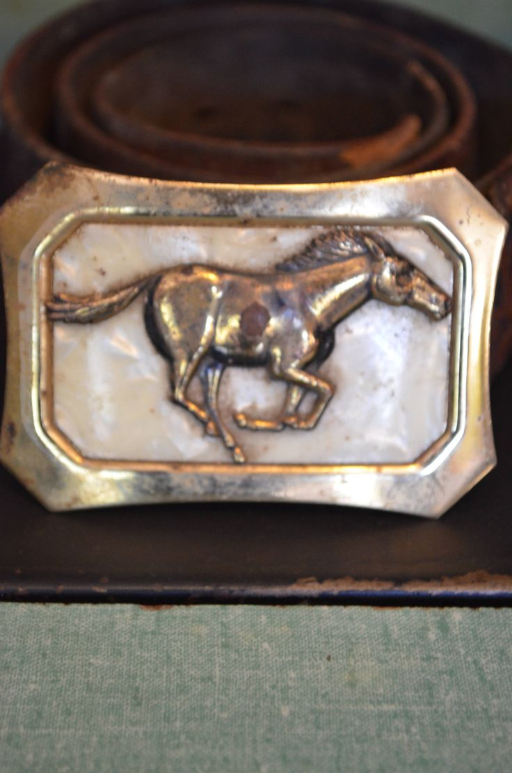 Small buckles for crafts - 60s Brass Buckle Horse Buckle Mother Of Pearl Rodeo Horse Cowboy Buckle Western Wear Rodeo Buckle Belt Buckles Vintage Belt Rustic Worn Look