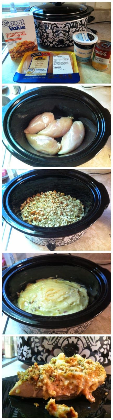 Super Simple Crockpot Chicken & Stuffing. Great thing is – it has only 4 ingredients.