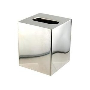 Boutique Size Tissue Box Cover - Polished Stainless Steel