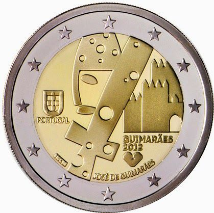 Portuguese commemorative 2 euro coins - European Capital of Culture 2012, the city of Guimarães in the North of Portugal Commemorative 2 euro coins from Portugal