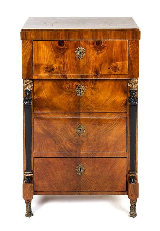 Biedermeier furniture a biedermeier burlwood chest having a rectangular top over a frieze drawer and three recessed drawers flanked by columnar supports