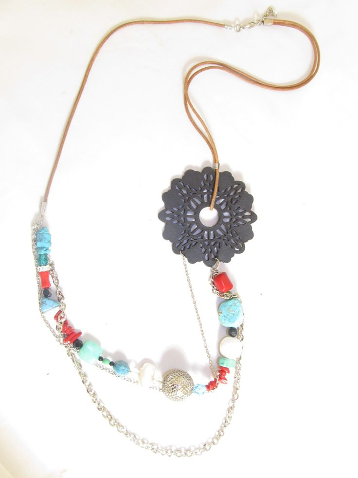 Handmade long necklace with black leather filigree (1 pc)  Made with black leather filigree, leather cords, chain, metal beads, semiprecious stones and glass beads.
