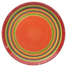 Ceramic platter hand-painted with a Southwestern stripe motif.  Product: PlatterConstruction Material: CeramicColor: MultiFeatures:  Designed by Nancy GreenHand-painted Dimensions: 3.5 H x 18.5 DiameterCleaning and Care: Dishwasher and microwave safe