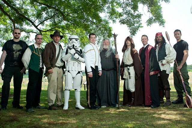 AH HA HA HA!  Could do elves, star wars, anime cosplay/videogame characters.  Maids and groomsmen would coincide.  (ex. link & zelda)  I love Gandalf here, and the guy from stargate on the right.